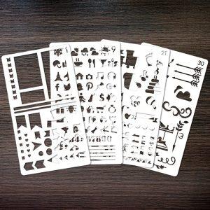 Vidilo Bullet Journal Pochoir, 30 pièces Pochoir à Dessin Pochoir